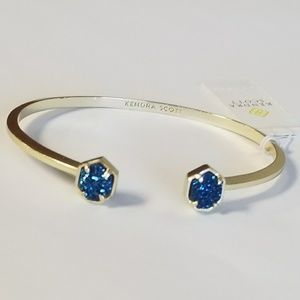 New Kendra Scott Blue Drusy Cuff Bracelet Gold